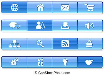 blu, internet, sbarra, icone