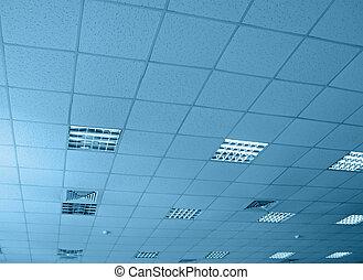 blu, interno, magazzino, costruzione, soffitto
