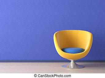 blu, interno, sedia, disegno, giallo