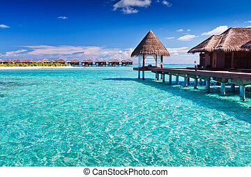 blu, intorno, isola, overwater, tropicale, terme