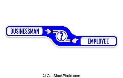 blu, iscrizioni, oggetto, punto interrogativo, uomo affari, impiegato