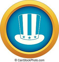 blu, isolato, americano, vettore, cappello, icona