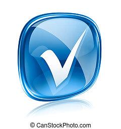 blu, isolato, fondo., vetro, bianco, assegno, icona