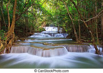 blu, kanjanaburi, cascata, flusso, tailandia, foresta