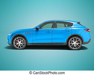 blu, lato, fondo, incrocio, affari, vista, automobile, uggia, viaggi, render, 3d, moderno, scuro