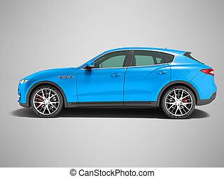 blu, lato, fondo, incrocio, affari, vista, automobile, uggia, viaggi, render, grigio, 3d, moderno, scuro