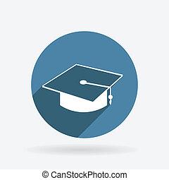 blu, laureato, hat., cerchio, shadow., icona