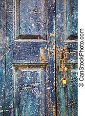 blu, legno, vecchio, porta, lucchetti