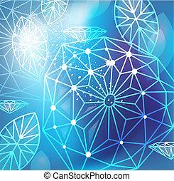 blu, lineare, astratto, taglio, fondo, diamanti