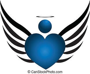blu, logotipo, angelo