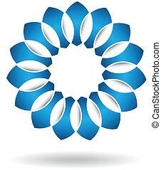 blu, logotipo, astratto, fiore