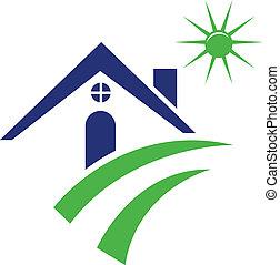 blu, logotipo, casa