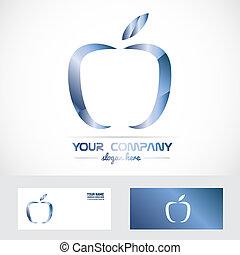 blu, logotipo, metallo, mela, 3d