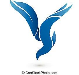 blu, logotipo, vettore, uccello, icona