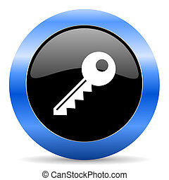blu, lucido, icona chiave