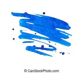 blu, macchia, vernice acquarellatura, macchia, aquarelle