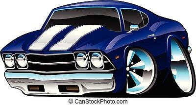 blu, macchina classica, cartone animato, profondo, cobalto, americano, vettore, illustrazione, muscolo
