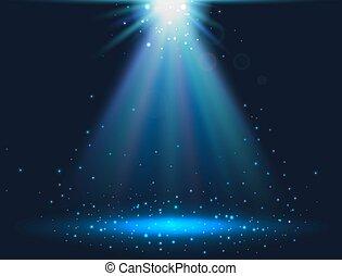 blu, magia, fondo., luce, star., light., illustrazione, scintilla, vettore, lucente