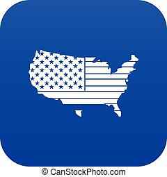 blu, mappa, icona americana, digitale