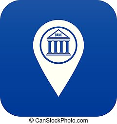 blu, mappa, icona, perno, digitale