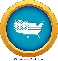 blu, mappa, isolato, americano, vettore, icona