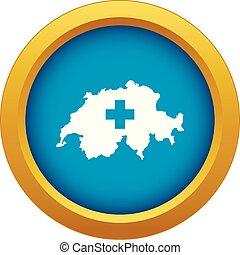 blu, mappa, isolato, vettore, svizzera, icona