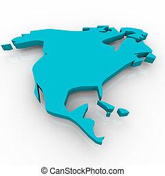 blu, mappa, -, nord america