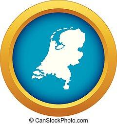 blu, mappa, olanda, isolato, vettore, icona