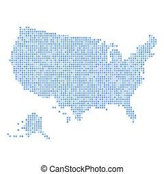 blu, mappa, punteggiato, stati uniti, fondo., vettore, bianco