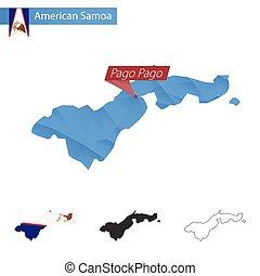 blu, mappa, samoa, capitale, americano, poly, pago., basso, pago