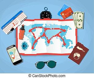 blu, mappa, smartphone, appartamento, soldi, world., domanda, carta, vettore, disegno, illustrazione, fondo, aeroplano, passaporto, navigazione, biglietto