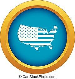 blu, mappa, stati uniti, isolato, vettore, icona