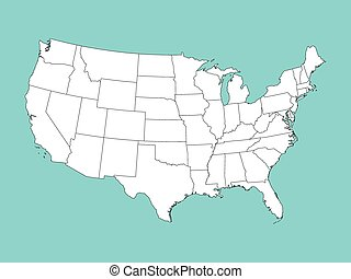 blu, mappa, stati uniti, vettore, fondo, bianco, america