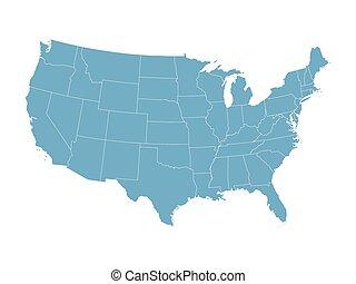 blu, mappa, stati, unito, vettore