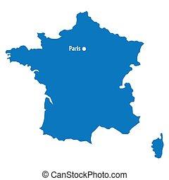 blu, mappa, tuo, pulito, paris., punto, text., isolato, dc, infographics., disegno, sagoma, capitale, francia, simile, città