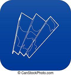 blu, mappa, vettore, icona