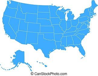 blu, mappa, vettore, stati uniti