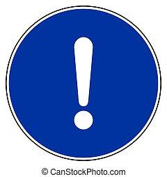 blu, marchio, segno, esclamazione