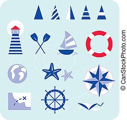 blu, marinaio, nautico, icone