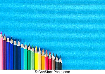 blu, matite, carta, fondo, colorito