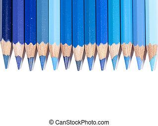 blu, matite, linea, colore isolato
