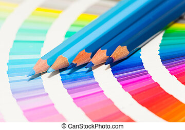blu, matite, tutto, colorato, colore, colori