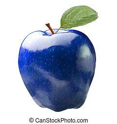 blu, mela, isolato, malsano