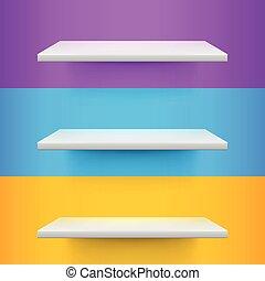 blu, mensole, tre, giallo, realistico, fondo, voilet, bianco