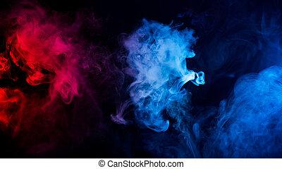 blu, mescolato, colori, rosso, fumo