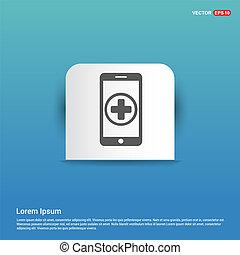 blu, mobile, adesivo, -, telefono, aggiungere, bottone, icona
