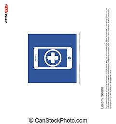 blu, mobile, cornice foto, -, telefono, aggiungere, icona