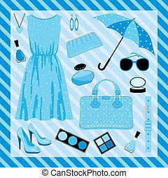 blu, moda, set, toni