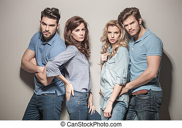 blu, modelle, jeans, camicie, polo, casuale