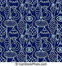 blu, modello, albero, seamless, decorazioni, natale